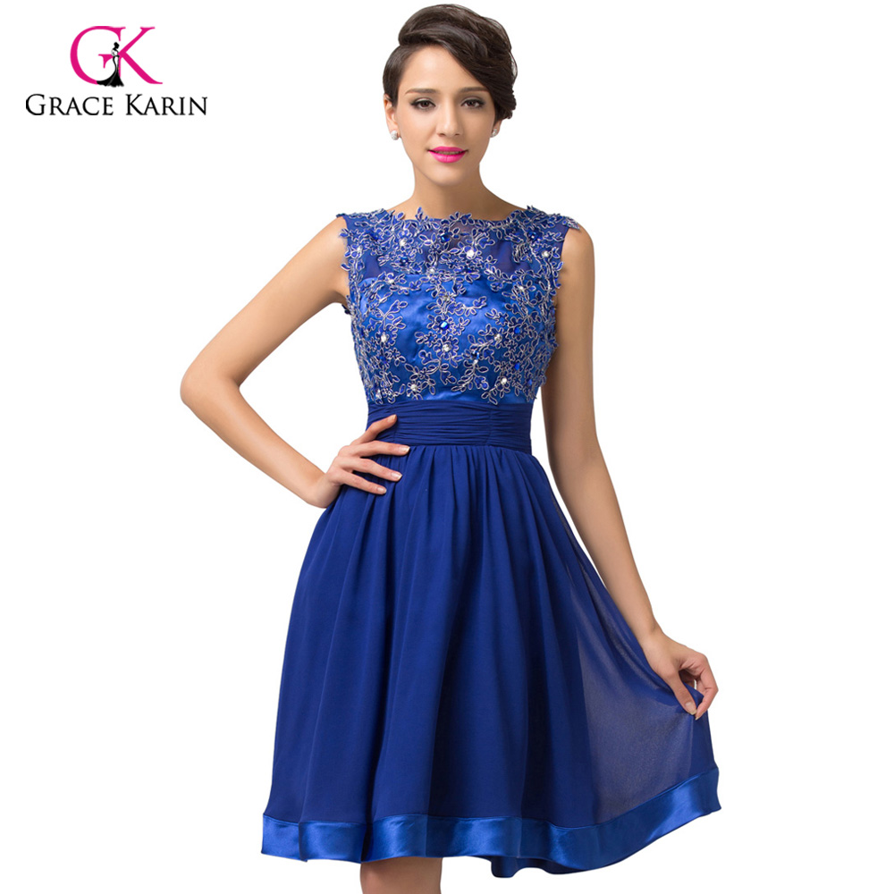 810c565143062 2018 luxury robe de Cocktail Dresses Grace Karin Backless Royal Blue lace  Short elegant party coctail dress vestidos de coctel-in Cocktail Dresses  from ...