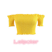 2018 womens tops and blouses Women shirts off shoulder top yellow blouse short sleeve clothes korean blusas crop top Laipelar