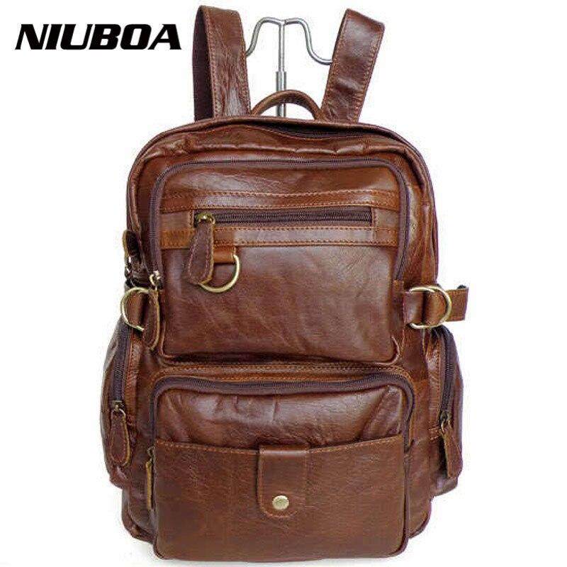 Здесь можно купить  NIUBOA 100% Genuine Leather Backpack Top Quality Fashion Cowhide Backpack High Level Back Pack Unisex School Bag Travel Backpack  Камера и Сумки