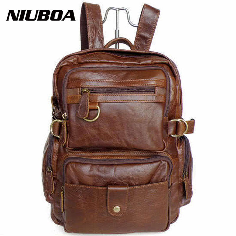 NIUBOA 100% <font><b>Genuine</b></font> <font><b>Leather</b></font> <font><b>Backpack</b></font> Top Quality Fashion Cowhide <font><b>Backpack</b></font> High Level Back Pack <font><b>Unisex</b></font> School Bag Travel <font><b>Backpack</b></font> image
