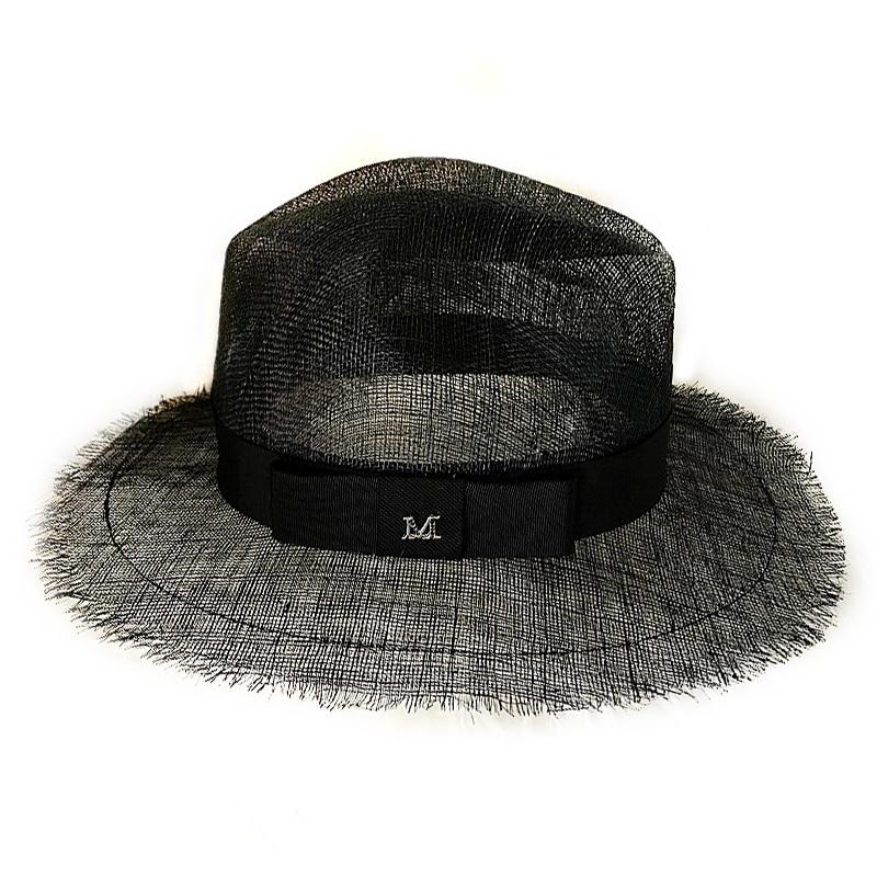 98ff3fa4 2018 Summer Straw Hat Fashion Casual Black Ladies Panama Wide Brim Beach  Hat Sun Hats For Women