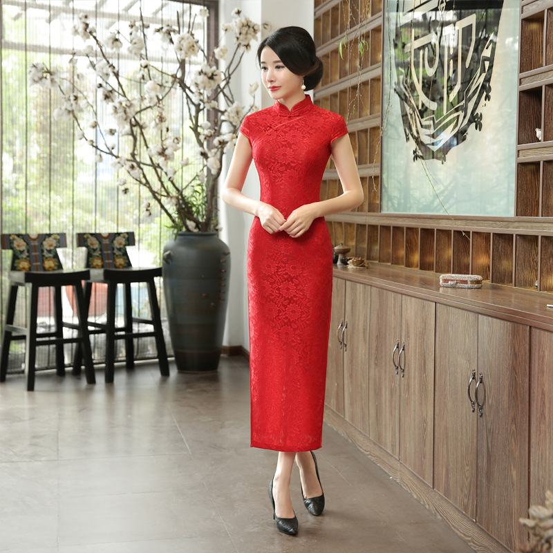 New Chinese Traditional Dress Women Vintage Cheongsam Bride Toast Long Qipao Oriental Dresses Retro Elegant Red Lace Clothes