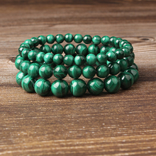 Lingxiang 4/6/8/10mm Natural stone bracelet malachite green hand string suitable for men and women to wear beads все цены