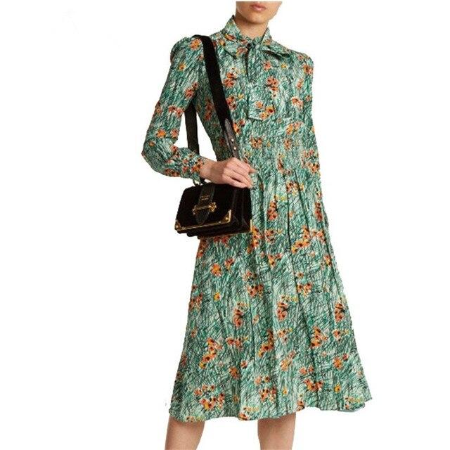 Принцесса Кейт Миддлтон Зеленый Мак Платье с принтом 2019 весна женское платье с длинным рукавом галстук-бабочка смокинг пояс вечернее платье