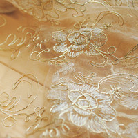 1 yard gold floral cord lace fabric, high quality african golden alencon fabric, luxury bridal vintage lace