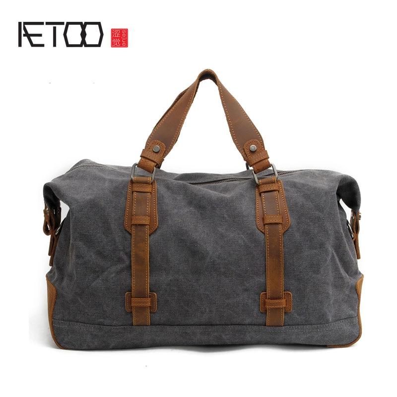 AETOO New travel bag large canvas handbag leisure travel Boston bag tide men bag backpack