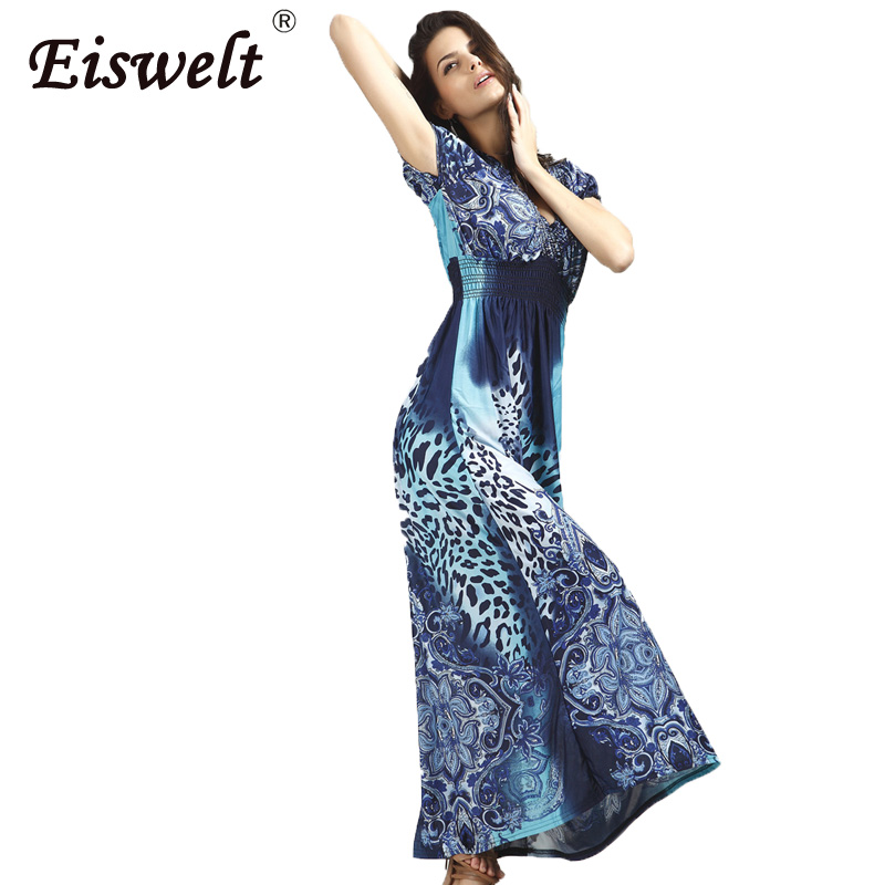 EISWELT 2017 Summer Dress Women Sexy Long Robe Vintage Floor Length  Vestidos De Festa Leopard Print Bohemian Dress with Belt-in Dresses from  Women s ... 95e06e98c8