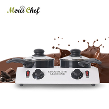 80W Mini Electric Chocolate Melting Machine Double Pots Ceramic Non-Stick Pot Tempering Cylinder Melter Pan 220V (2 Melting Pot) cs 2 commercial 2 pot chocolate melting pot electric chocolate melting pot domestic chocolate melting pot 2 2l capacity 220v