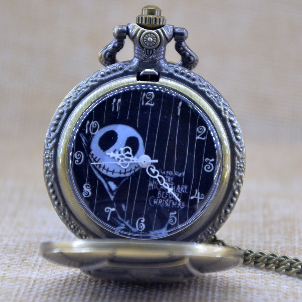 bronze engraved black dial tim burtons nightmare before christmas quartz pocket watch analog pendant necklace mens womens gifts in pocket fob watches - Nightmare Before Christmas Watch Online