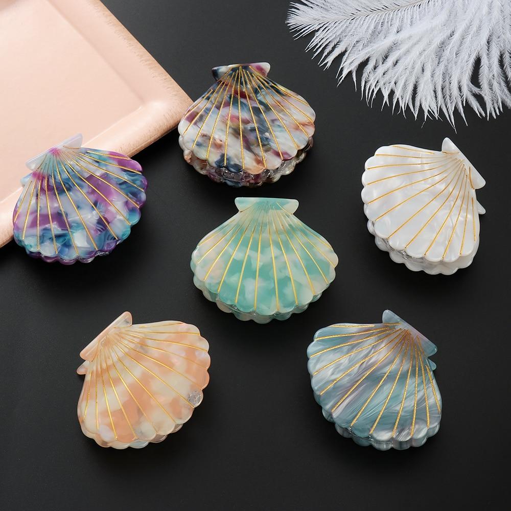 2019 Women Hair Accessories Shell Shape Acrylic Hair Claws Beach Hairpins Barrette Beauty Hair Crab Hairgrips Girl   Headwear