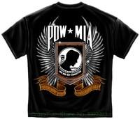 Military T Shirt Pow Chrome Wings Black 100 Cotton Short Sleeve O Neck Tops Tee Shirts