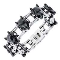 Mens stainless steel wolf bracelet biker heavy jewelry gold silver color birthday gifts for dad him boyfriend D035 dropship 8.5