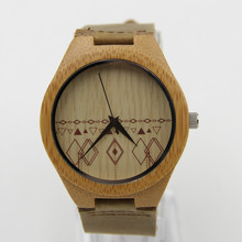Luxury Fashion Bamboo Men's Brand Watch Genuine Cowhide Leather Straps with  Gift Box Iead Watch as Gifts for Men