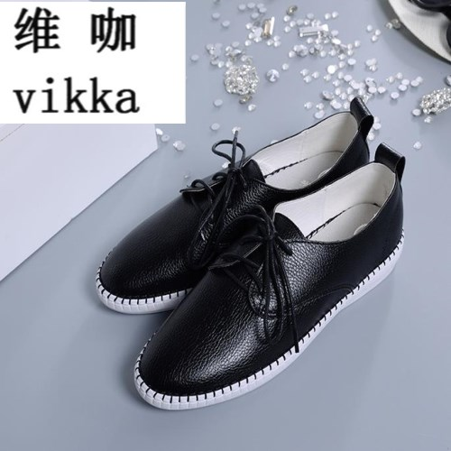 VIKKA hot New 2017 Classic Women Casual Shoes Spring Autumn Women Flats Fashion Round Toe Shoes Woman Size 34-43 new hot spring summer high quality fashion trend simple classic solid pleated flats casual pointed toe women office boat shoes
