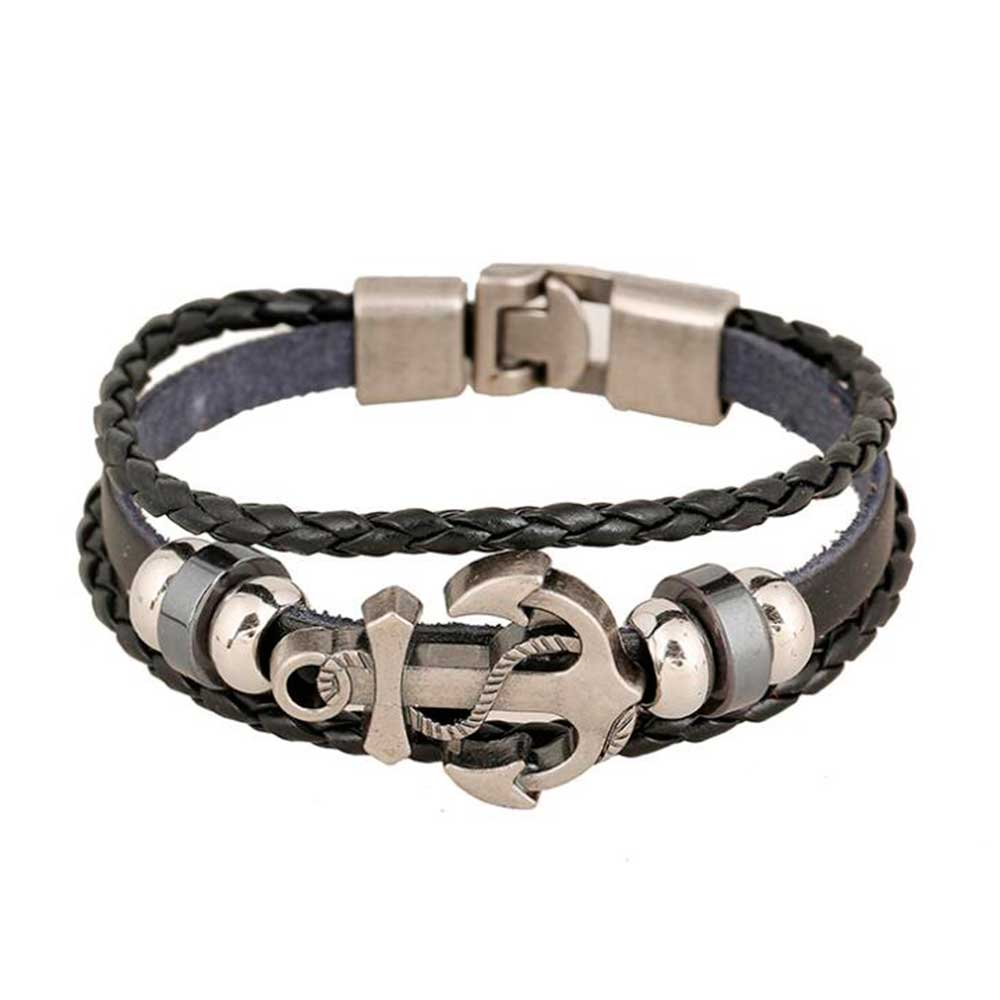 Vintage Multi Layered Braided Leather Bracelets for Men Women Bangle Charm Anchor Accessories Bracelet Pulseira Dropshipping
