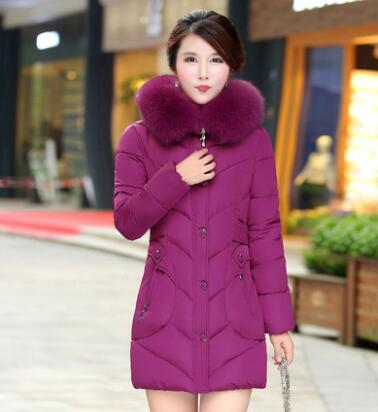 Winter Coat Women 2016 New Mother Big Fur Hooded Slim Down Parkas Fashion Autumn Female Thicken Warm Cotton Padded Jacket A4398 2017 free shipping new autumn winter long down big fur coat padded slim women fashion high street coats