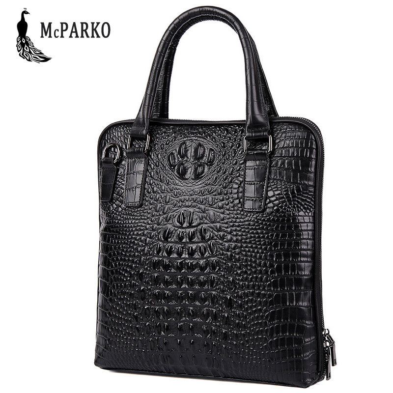 Embossing Crocodile Briefcases Men Genuine Leather Laptop Briefcase Cowhide Luxury Men Bag Business Briefcase Vertical Style