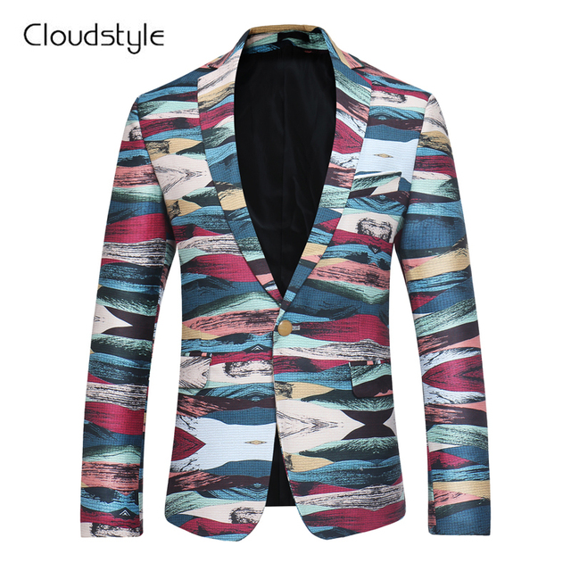 2018 Cloudstyle Male Blazer Fashion Own Designed  Colorful Printing Single Button Overcoat  Casual Slim Fit Business Men