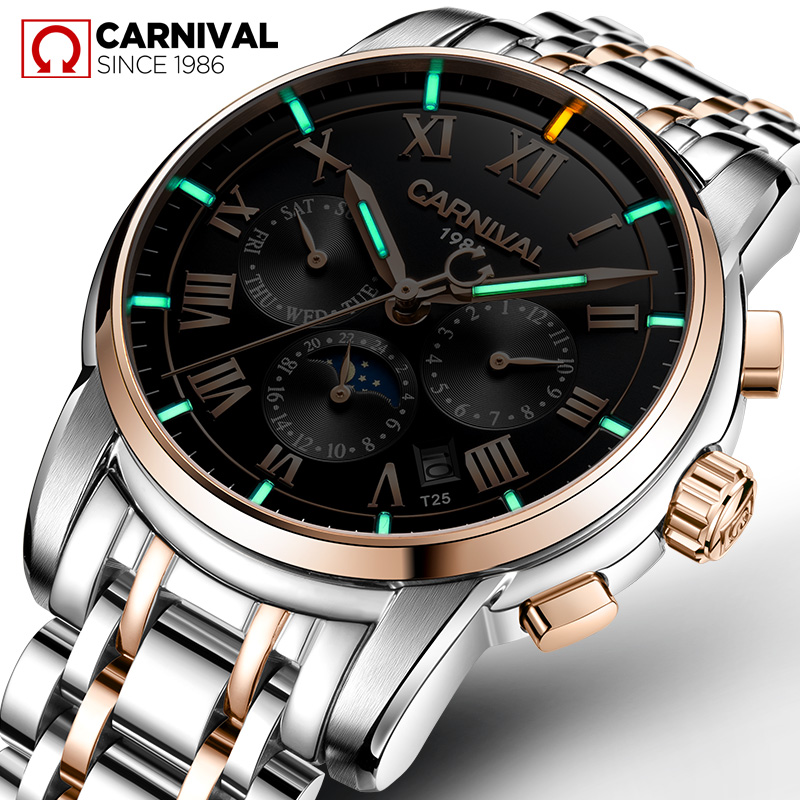 CARNIVAL Luxury Tritium Self Luminous Watches Top brand Business Automatic Watch Men Moon Phase Week Calendar Mechanical Watches yelang v1015 upgrade version khaki number tritium gas green luminous men automatic mechanical business watch leather watchband