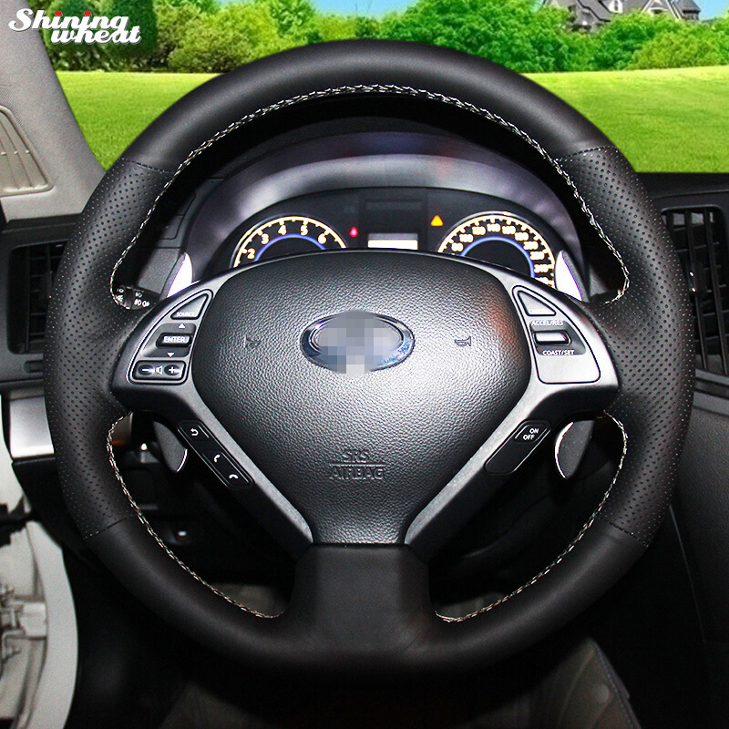 Shining wheat Black Leather Steering Wheel Cover for Infiniti  QX50 G25 G35 G37 EX25 EX35 EX37 2008-2013