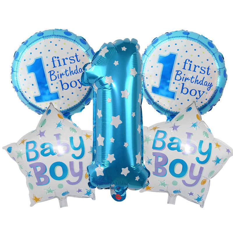 Baby Boy Girl 1st Birthday Party Foil Balloons Set Pink Blue Number Foil Balloons Kids First Birthday Party Decoration Supplies
