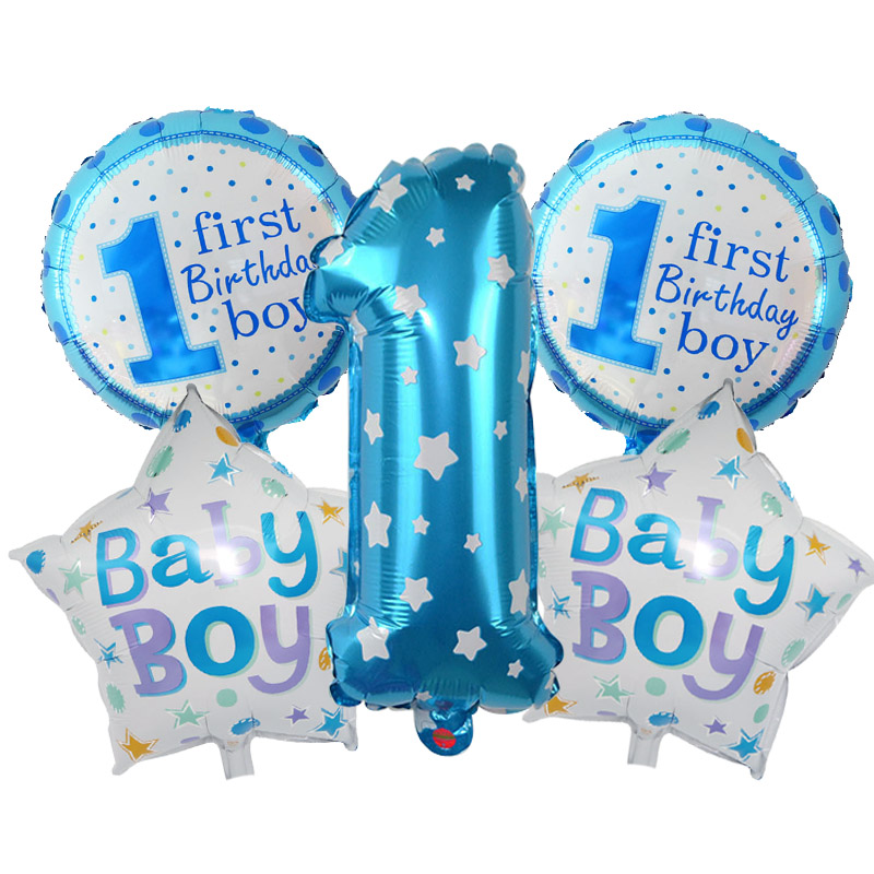 Baby Boy Girl 1st Birthday Party Foil Balloons Set Pink Blue Number Kids First Decoration Supplies
