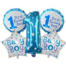 Conjunto de balões laminados de alumínio, conjunto de balões para decoração da festa de 1 ° ano de aniversário de crianças, meninos e meninas