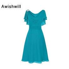 2020 新着エレガント花嫁のドレス半袖ビーズシフォン女性フォーマルイブニングパーティードレスショートウエディングドレス