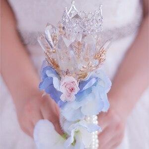 IFFO заказной свадебный цветок в руках невесты, креативный букет из бразильского кристалла, жемчужная брошь, розовый букет невесты