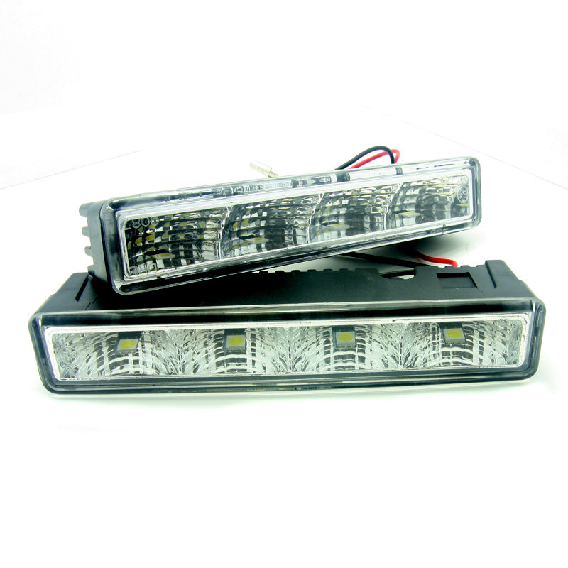 2cps White 4LED Day Running Lights 125 x 21 x 30mm DRL 100P Low Power Consumption 5050 Plastic Housing+Host Harness