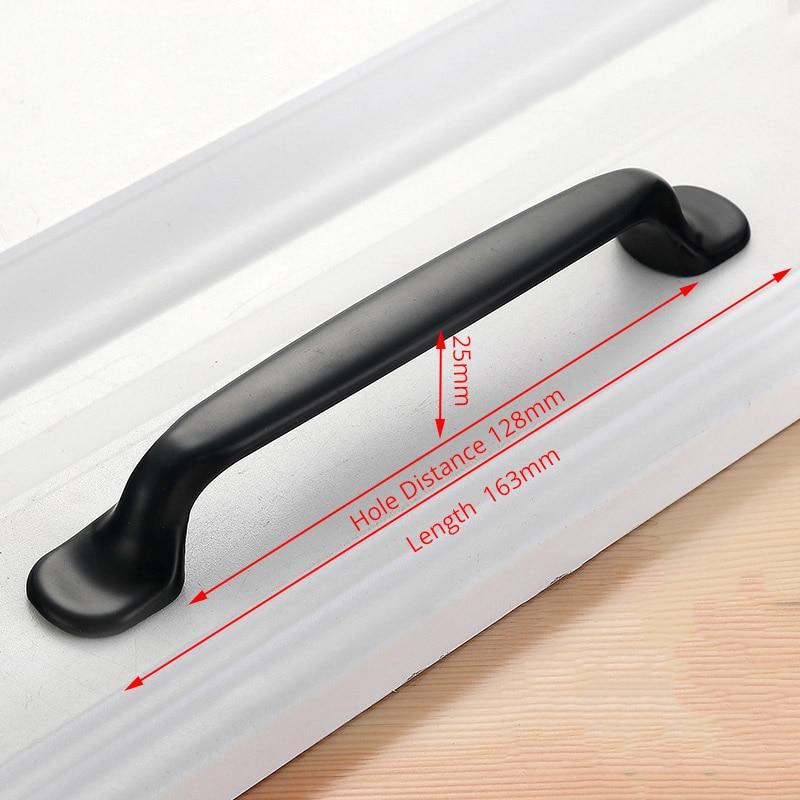 KAK американский стиль черный шкаф ручки цельный алюминиевый сплав кухонный шкаф ручки для выдвижных ящиков оборудование для обработки мебели - Цвет: Handle-6658C-128