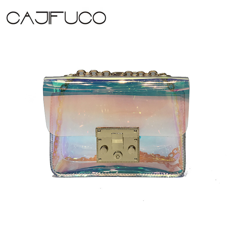 CAJIFUCO Girl Colour Rainbow Chain Bag Transparent Messenger Bag Laser Clear PVC Flag Bag Small Jelly CrossBody Bags Female