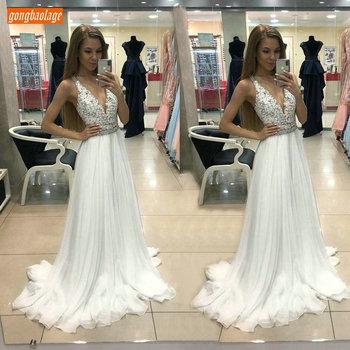 Elegant BOHO White Wedding Dresses Long 2019 Wedding Gowns V-Neck Chiffon Lace Appliques Slim Fit Floor Length Sexy Bridal Dress