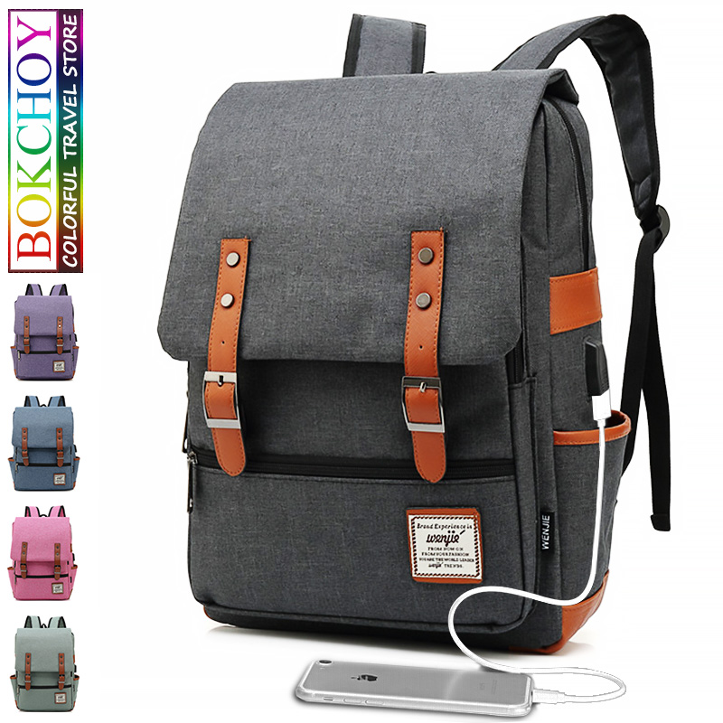 New Vintage Classic School Bags Usb Charging Laptop Backpack Men Women Travel Backpack Oxford Teenager Boys Girls Schoolbag