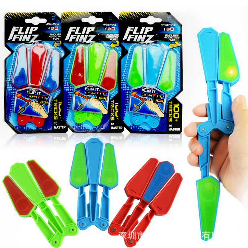 funny cool stress relief lighting flip finz butterfly knife anti-stress spinner toy magic trick finger top light toys for youth