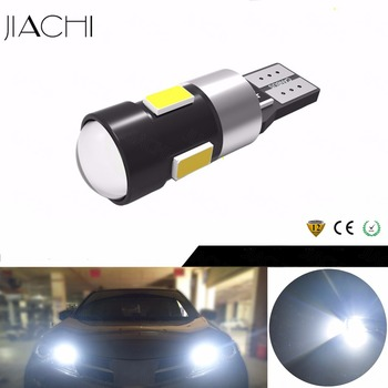 JIACHI 100 x T10 W5W 2825 CANBUS No Error LED Light Bulbs 5730SMD 6 LEDs Replacement Lamp For Car With Projector Lens White 12V