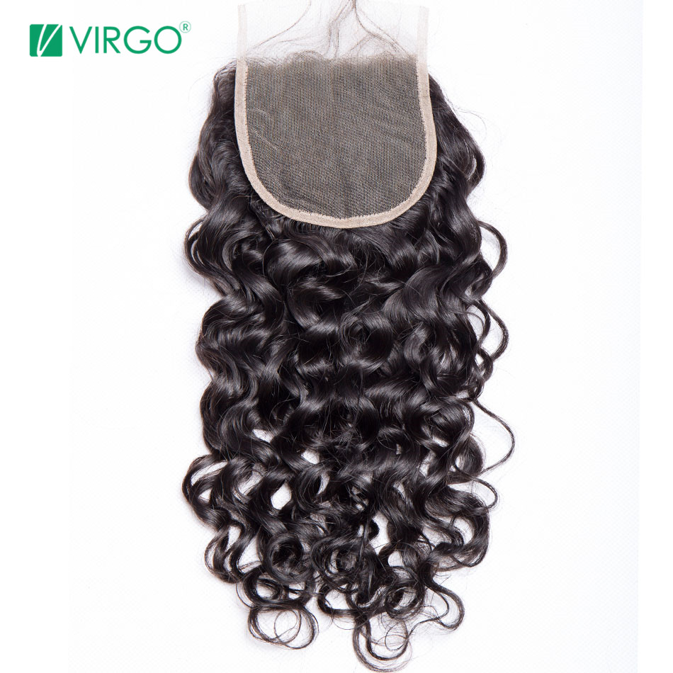 Volys Virgo Remy Hair Swiss Lace Closure Water Wave 4x4'' Free/Middle/Three Part Human Hair Natural Color Can Be Restyled