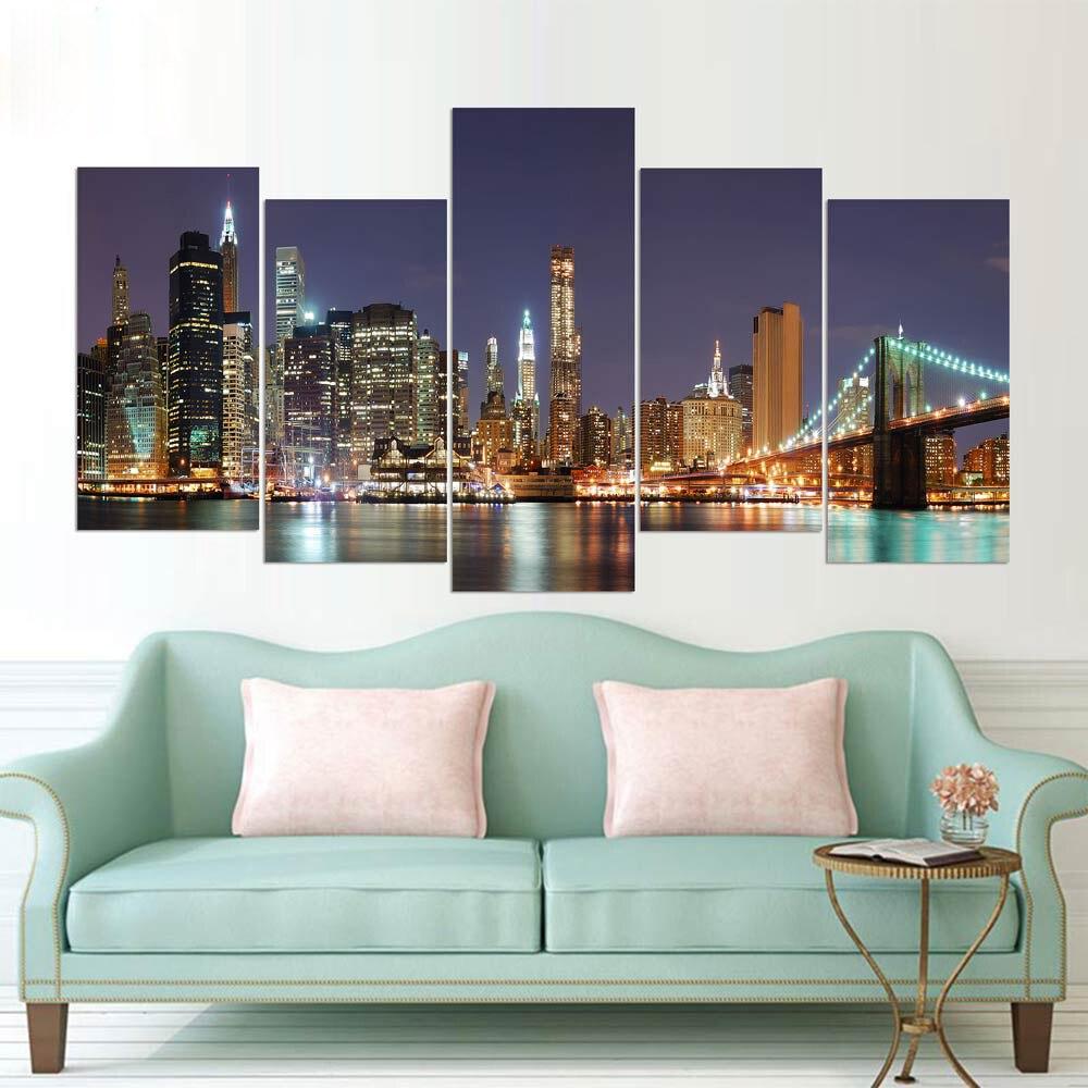 5 Piece Canvas Painting Famous Brooklyn Bridge New York