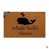 Funny Printed Doormat Entrance Floor Mat Funny Door Mat Whale Hello There Non slip Doormat 30 inch by 18 inch Non woven Fabric