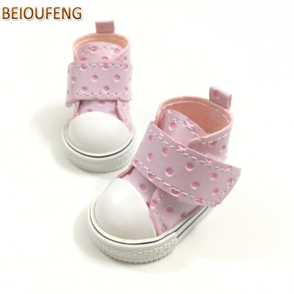 BEIOUFENG 5CM Sneakers Shoes BJD Doll Footwear Gym Shoes for BJD Dolls,Polka Dots Design Kediki Doll Shoes for Dolls 6 Pair/Lot uncle 1 3 1 4 1 6 doll accessories for bjd sd bjd eyelashes for doll 1 pair tx 03