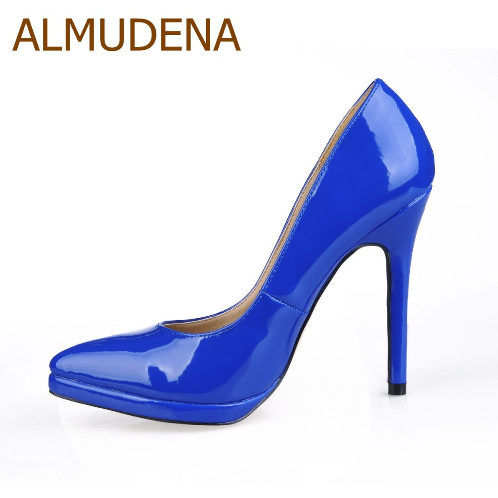 ALMUDENA Royal Blue Black Patent Leather Pointed Toe Pumps Stiletto Heels Dress Shoes Platform Banquet Shoes For Party hee grand sweet patent leather women oxfords shoes for spring pointed toe platform low heels pumps brogue shoes woman xwd6447