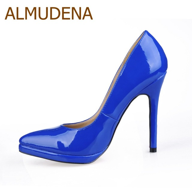ALMUDENA Royal Blue Black Patent Leather Pointed Toe Pumps Stiletto Heels  Dress Shoes Platform Banquet Shoes For Party d6f6214b3f2a