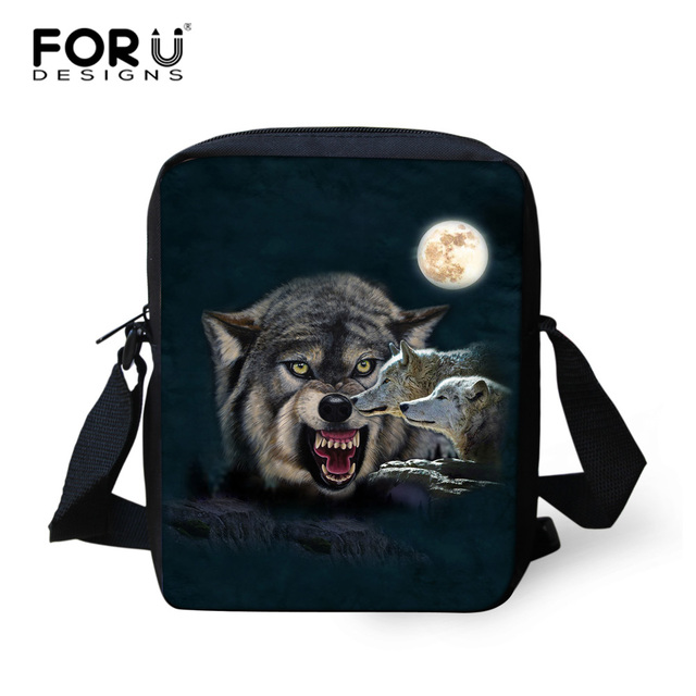 e564c0463d FORUDESIGNS 3D Cool Wolf Printing Women Messenger Bags Kids Boys Shoulder  Bag Children Female Casual Crossbody