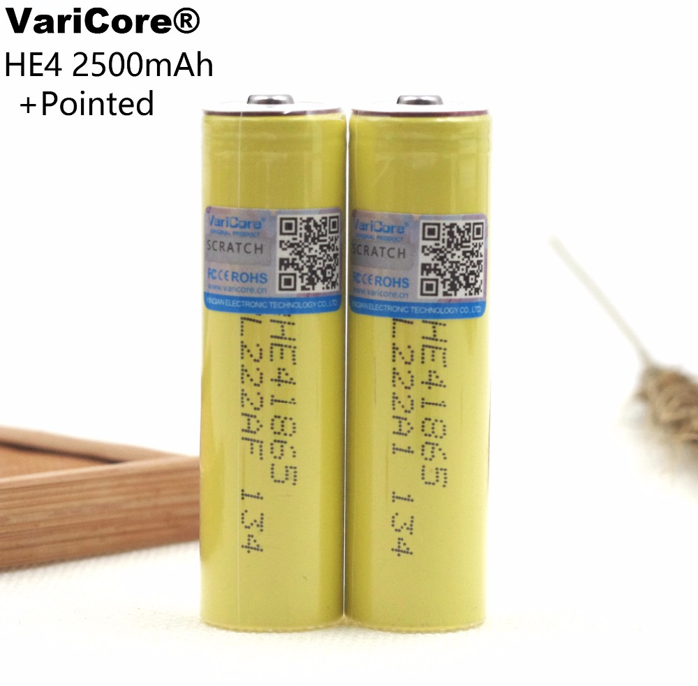 4 pcs. VariCore original HE4 20A discharge, 2500 mAh Electronic Cigarette lithium batteries; Electric screwdriver+pointed
