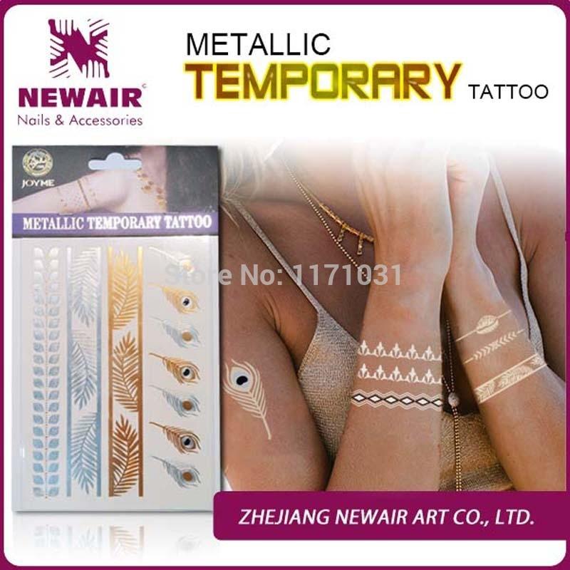2015 cuerpo arte metálico tatuajes temporales productos del sexo collar de flash