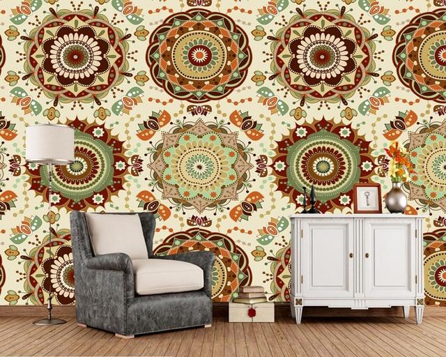 Custom Floral Wallpaper Indian Ethnic Style Fresco For Bar Ktv