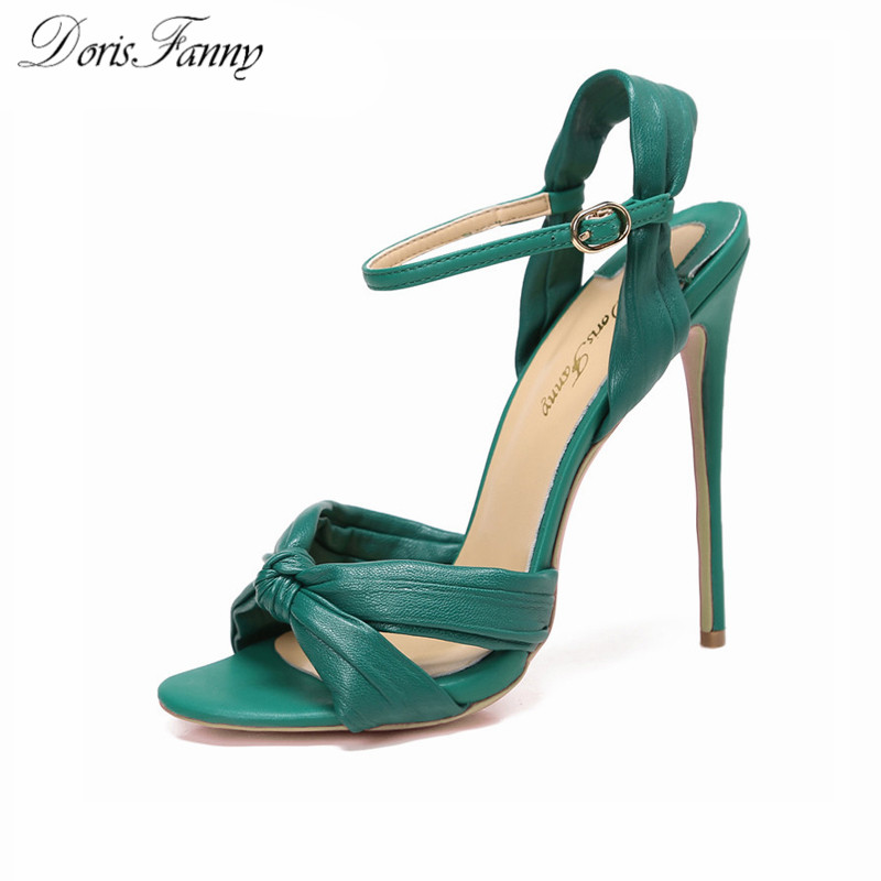 DorisFanny green black high heels sandals women 2017 SEXY summer shoes ankle strap wedding party shoes big size 9 10 43 big size 32 43 fashion party shoes woman sexy high heels platform summer pumps ankle strap sandals women shoes