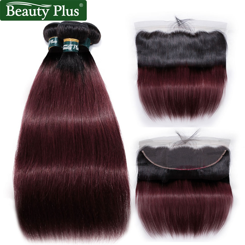 Ombre Burgundy Brazilian Human Hair Weave Bundles With Lace Frontals Beauty Plus Nonremy 1B 99J Straight