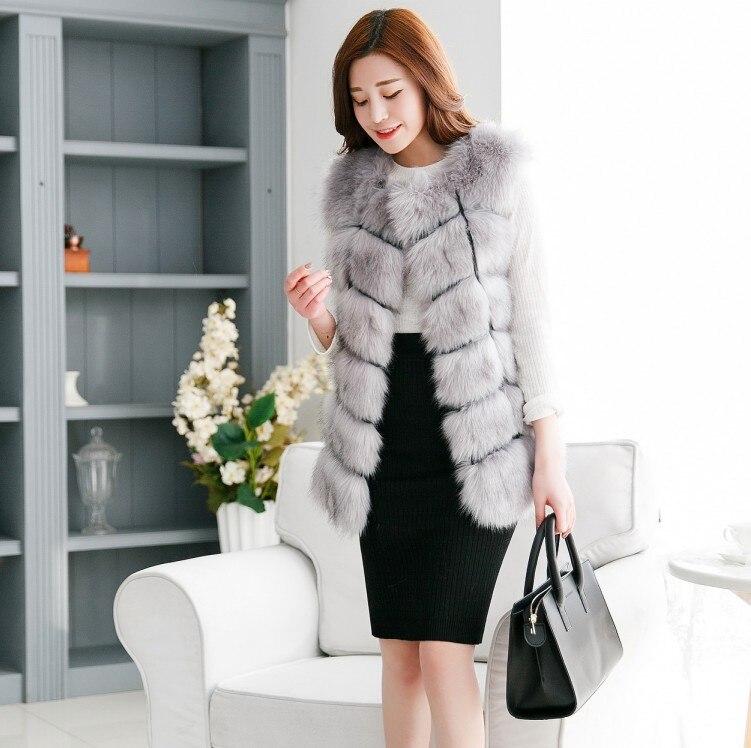 Новое поступление, зимний теплый модный длинный женский жилет из искусственного меха, пальто из искусственного меха, жилет из лисьего меха, женский жилет, большие размеры, S-4XL - Цвет: little grey