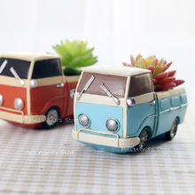 Creative retro tool cart small plant pots Fun Desktop truck Cars resin Flower Pots Personalized Home Decoration